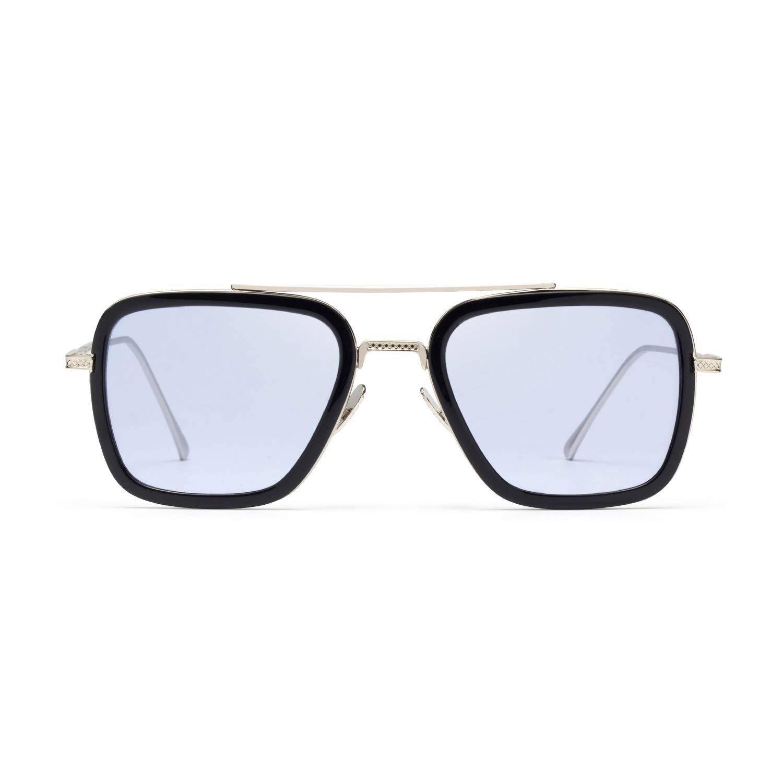 Pandacos Spider Man Sonnenbrille Tony Stark Retro Edith Brillen Metallrahmen Grau Schrittweise Linsen für Damen und Herren
