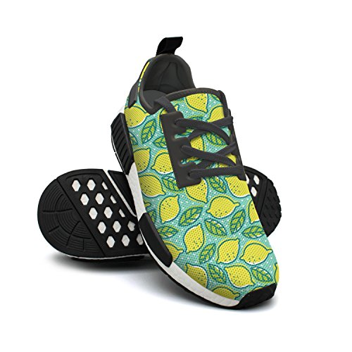 Gym FAAERD Lightweight Womens Benefits of Sneakers Mesh Simple Breathable Lemon Shoes Fashion 1qqawT
