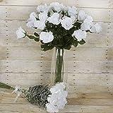 BalsaCircle 48 pcs Long Single Stem Rose Bundles - Wedding Silk Flowers - White
