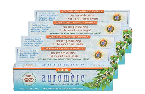 Ayurvedic Herbal Toothpaste Licorice by Auromere - Fluoride-Free, Natural, with Neem and Vegan - 4.16 oz (4 Pack) ()