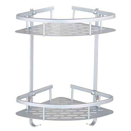 bathroom corner shelf aluminum 2 tiers shower storage corner shelves with hooks kitchen corner sticky shelves - Kitchen Corner Shelf