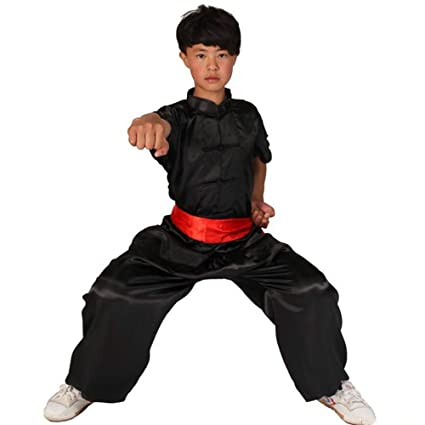 80e304802 ZooBoo Unisex Kids' Silk Kung Fu Suit Uniforms Short Sleeve Martial Art Costume  Tai Chi