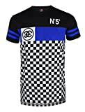 SCREENSHOTBRAND-S11806 Mens Hipster Hip-Hop Premiun Tees - Luxury Longline Color Block Checkers Print T-Shirt-Black-Small