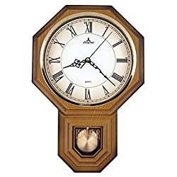 JUSTIME Traditional Schoolhouse Roman Pendulum Wall Clock Chimes Hourly with Westminster Melody Made in Taiwan (PP0258-R-LW Light Wood Grain)