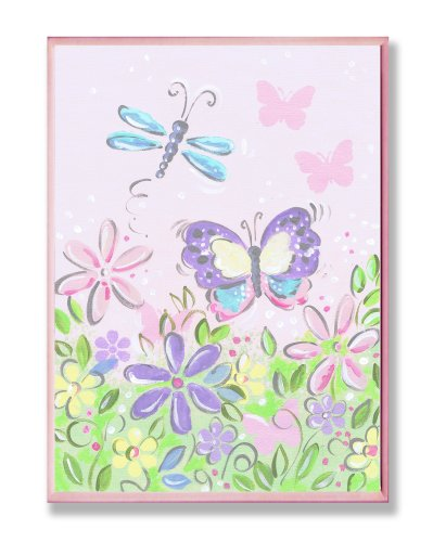 Green Butterfly Nursery Decorations - The Kids Room by Stupell Pastel Butterfly and Dragonfly Rectangle Wall Plaque