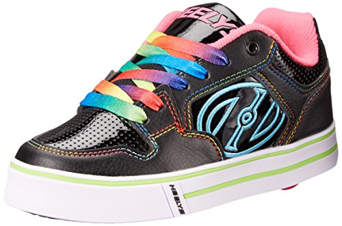Heelys Motion Plus Skate Shoe (Little Kid/Big Kid), Black Hot Pink, 4 M US Big Kid by Heelys
