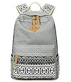 Abshoo Cute Lightweight Canvas Bookbags School Backpacks for Teen Girls (Grey)