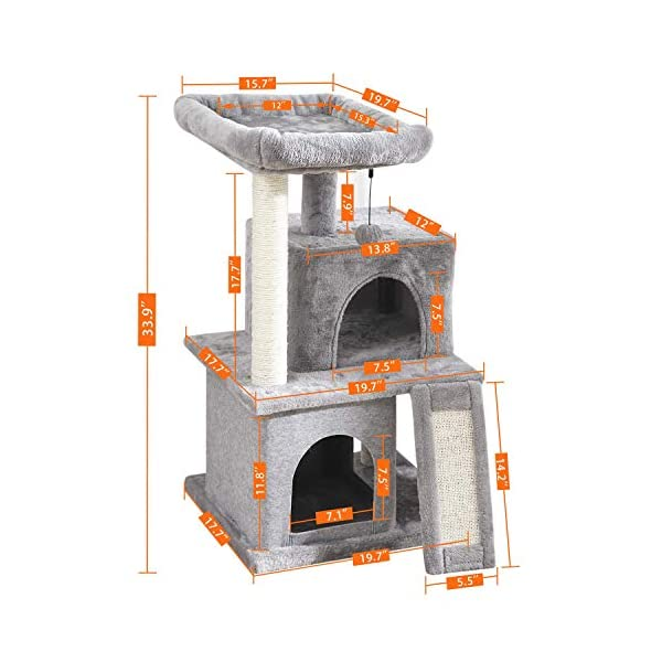 PAWZ Road Cat Tree Luxury Cat Tower with Double Condos, Spacious Perch, Fully Wrapped Scratching Sisal Posts and Replaceable Dangling Balls 5