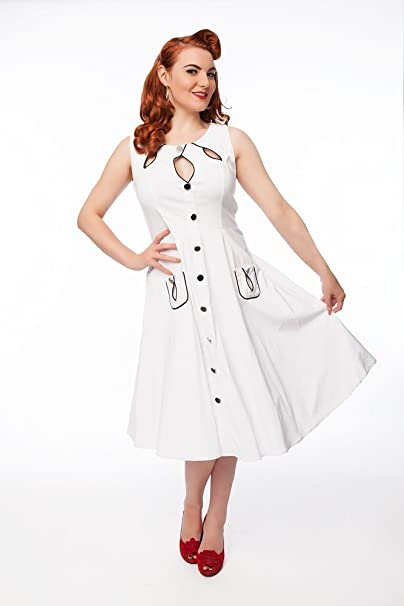 Mona s Boutique Paula Vintage 50s 60s Swing Rockabilly Jive Vestido té fiesta blanco blanco