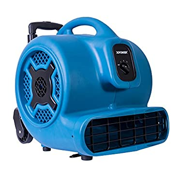 XPOWER P-830H 1 HP 3600 CFM 3 Speeds Professional Air Mover Careprt Dryer Floor Fan with Telescopic Handle & Wheels Blue
