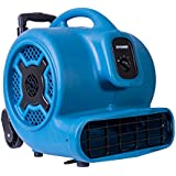 XPOWER P-800H 3/4 HP 3200 CFM 3 Speeds Professional Air Mover Careprt Dryer Fan with Telescopic Handle & Wheels