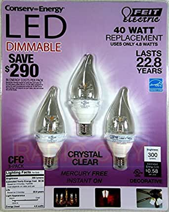 Feit 4 8 Watt 40 Watts Led Candelabra Light Bulbs 3 Pack