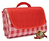 Upower Beach Blanket, Portable Foldable Waterproof Sandproof Mat Outdoor Travel Camping Picnic Blanket Tote for BBQ Hiking Backyard Grass Sports and Games (Red)