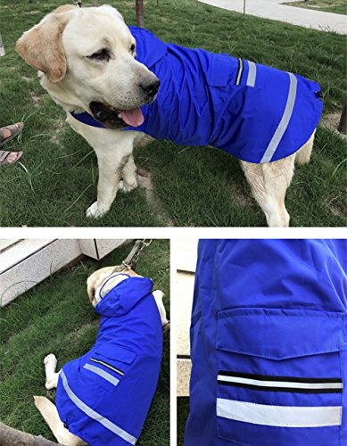 Joopet Big Pet Dog Hooded Raincoat Red Blue Waterproof Raincoats with Hat for Large Dogs (5XL, Blue) by Joopet (Image #3)