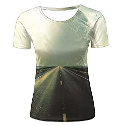 Womens 3d Printed Graphic Massive Planet In The Sky Short Sleeve T Shirts Summer Casual Cool Top Tees L