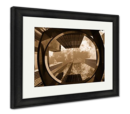 Ashley Framed Prints Downtown Skyscrapers, Wall Art Home Decoration, Sepia, 30x35 (frame size), Black Frame, AG5640820