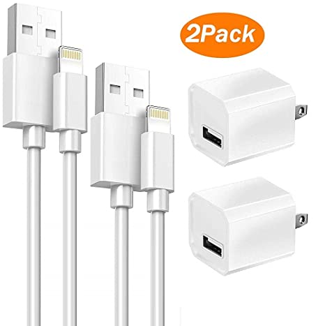 Replacement 2-Pack 5V USB Wall Charging Power Adapter + 2x 1 Meter 8 Pin Lightning USB Cables Cord for Charge & Sync Compatible with iPhone ...