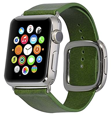 JSGJMY Smart Watch Band 38mm Leather Bracelet Replacement Strap for Smart Watch Sport & Edition (Green+Silver Buckle,38MM S)