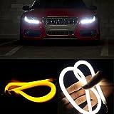 Matoen (TM) 2X 60CM Flexible Tube Guide Car LED Strip White DRL Amber Turn Signal Light DIY