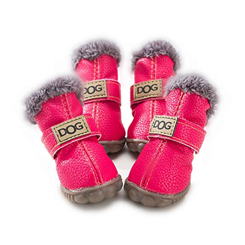 ZeroTone Warm Dog Snow Boots Waterproof Anti-Slip Small Dog Puppy Cat Winter Boots Pet Shoes 2 Styles #1-#5 (#4, Solide Style - Hot Pink)