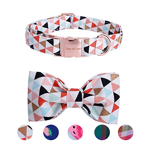 USP Pet Soft&Comfy Bowtie Dog Collar and Cat Collar Pet Gift for Dogs and Cats Adjustable Pure Cotton Collars 6 Sizes and 5 Patterns ()