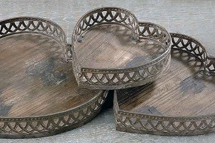 Unbekannt Bandeja Aura Forma de corazón Madera & Metal Bandeja de servir bandeja decorativa 21 cm