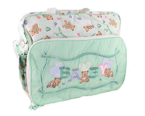 Bolso cambiador, diseño de oso, color verde-Maman Bébé-Bolso 38 x 30 x 10 cm