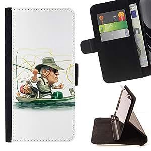 Momo Phone Case / Flip Funda de Cuero Case Cover - Funny Fisherman - HTC One M9