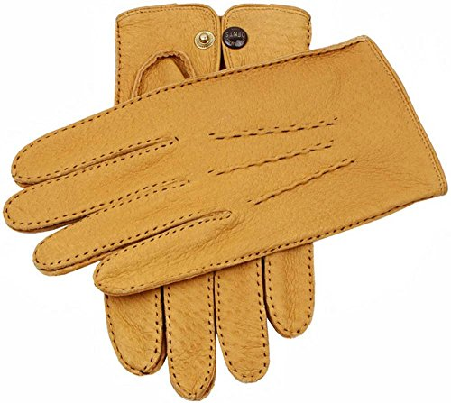 (Dents Mens Clifton Unlined Peccary Leather Gloves - Cork - Small/Medium )