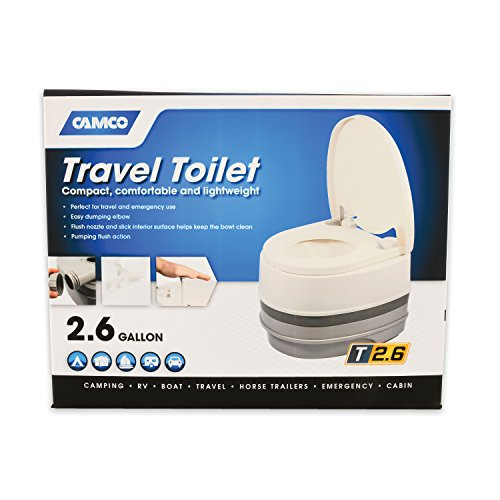 Camco 41535 Premium Portable Travel Toilet Three Directional Flush Swivel Dumping Elbow, Designed Camping, RV, Boating Other Recreational Activities (2.6 gallon) by Camco (Image #1)