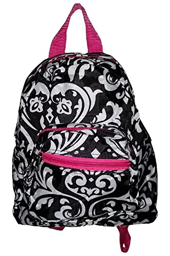 mini-backpack-purse-11-inch-zipper-front-pockets-teen-child-damask-with-pink-trim