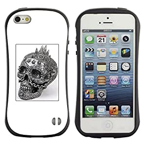 Fuerte Suave TPU GEL Caso Carcasa de Protección Funda para Apple Iphone 5 / 5S / Business Style Skull Punk Rock White Black Poster