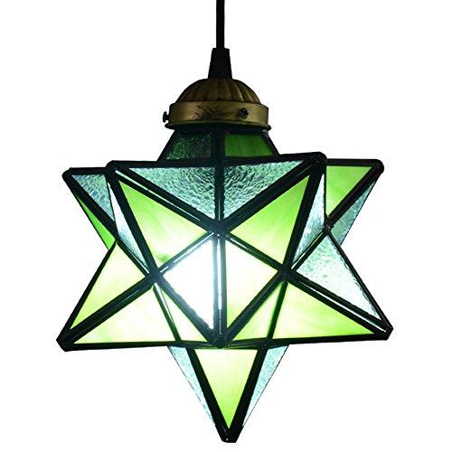 Green Star Pendant Lighting - Retro Glass Pentagram Star Pendant Light Cooper Lamp Shade Ceiling Lamp Loft Rural Chandelier (Green)
