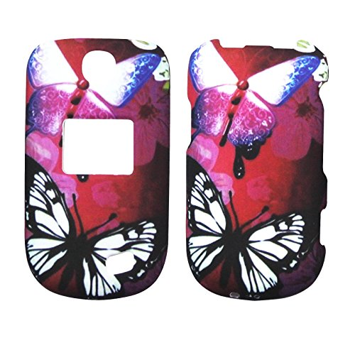 2D White Flower Butterfly For LG Revere 3 VN170 Case Cover Hard Phone Case Snap on Shield Protector Rubberized Touch Faceplate Cover