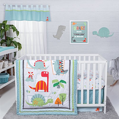 Trend Lab Dinosaur Roar 3 Piece Crib Bedding Set, - Crib Bedding Blue Balloons