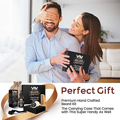 Beard Growth Kit, Beard Growth Oil Serum for Men, Facial Hair Growth Kit with Beard Balm + Comb, Titanium Beard Roller Kit for Men