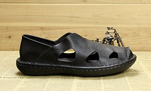 Walking TQN247 Sandals Black Outdoor Minishion Summer Men's Hiking Close Toe Leather dgzXnOwq