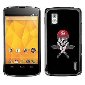 Carcasa Funda Prima Delgada SLIM Casa Case Bandera Cover Shell para LG Google Nexus 4 E960 / Business Style Mario Skull & Guns