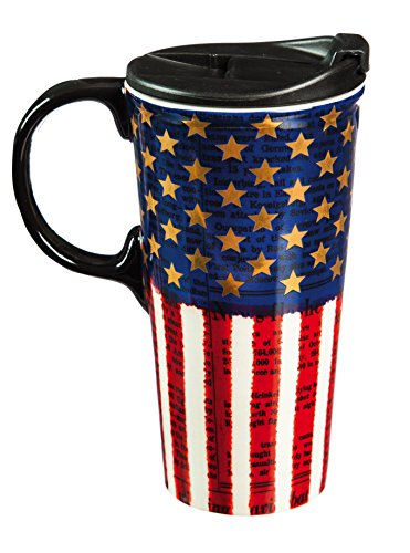 "Cypress Home Metallic Liberty 17 oz Boxed Ceramic Perfect Travel Coffee Mug or Tea Cup with Lid - 3""W x 5.25"