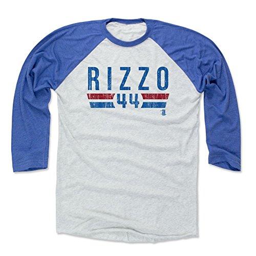 500 LEVEL Anthony Rizzo Baseball Tee Shirt X-Large Royal/Ash - Chicago Baseball Raglan Shirt - Anthony Rizzo Font B