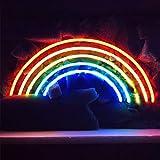 LiQi''Rainbow'' Neon Sign (14'' x 6.5''Large)Real Glass Acrylic Panel Handmade for Home Bedroom Pub Hotel Beach Recreational Game Room Decor