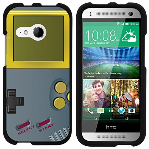 ible for HTC One M8 Mini Case | One Mini 2 | One Remix [Slim Duo] Matte Hard 2 Piece Protector Slim Shell Snap On Cover on Black Video Games Design - Gray Gameboy ()