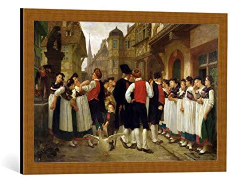 kunst für alle Framed Art Print: Charles Francois Marchal The Servants Fair at Bouxwiller - Decorative Fine Art Poster, Picture with Frame, 27.6x17.7 inch / 70x45 cm, Copper Brushed