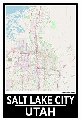 Salt Lake City Map Poster, 12x18 Inches, Home Wall Decor for Living Room, Office, Bedroom, Church, Printed Art Decoration