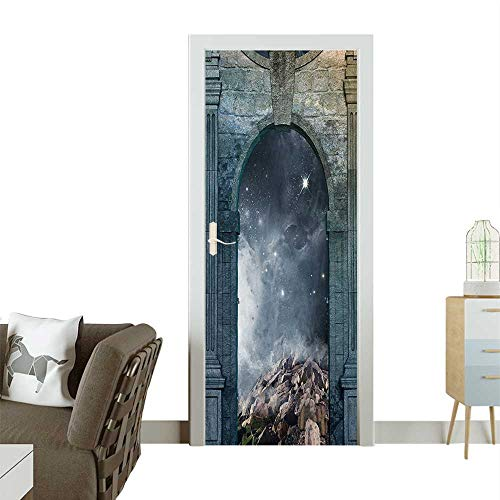 - Homesonne 3D Door Decals Door Star Cluster Side Old Enchanted Surreal Bluegrey Grey Dark Blue Self Adhesive Door DecalW30 x H80 INCH