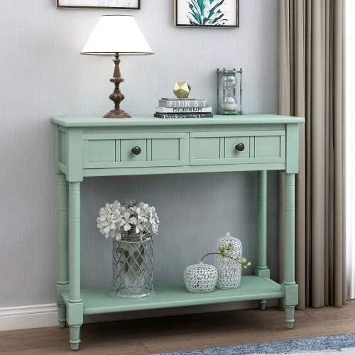 Wood Console Sofa Table with Drawer and Bottom Shelf, WeYoung Daisy Series Entryway Table for Living Room Retro Blue