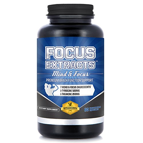 Focus Extracts - Mind and Alertness Nootropic Supplement for Improved Cognitive Brain Function with L-Theanine, Bacopa, Acetyl L-Tyrosine, Choline, Dmae by Vitamorph Labs - 60 Vegetarian Capsules