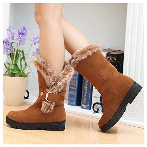 Boots Boots Fur Women Shoes Khaki Toe Lining Faux Flat Winter Inkach Slip Round Ankle On Snow xHfTEqnXg