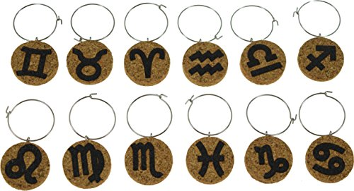 Cork Wine Glass Charms (20+ Unique Designs) - Set of 8 - Zodiac Inspired Designs - Tags to Mark Your Drink (Zodiac)