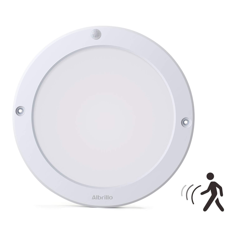 Albrillo 18W LED Ceiling Lights with Motion Sensor, Flush Ceiling Light Fittings for Doorway, Bathroom, Corridor, Hallway, 4000K Daylight White, 1300LM LL-CL3G